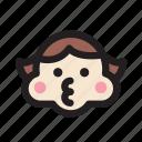 emoticon, face, girl, kiss, pretty, rosycheeks icon