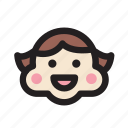 emoticon, face, girl, happy, rosycheeks, smile icon