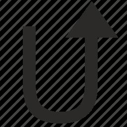 arrow, rotate, rotation, turn, u-turn icon