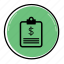 bill, business, cash, currency, finance, payment, receipt icon