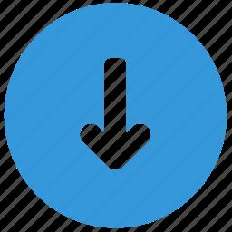 arrow, blue, bottom, direction, down icon