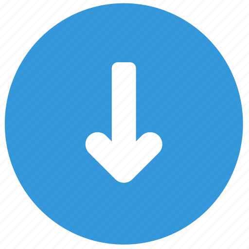 arrow, blue, bottom, direction, down icon