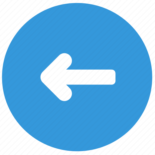 arrow, back, blue, direction, left icon
