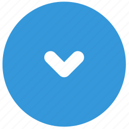arrow, blue, bottom, direction, down, small icon