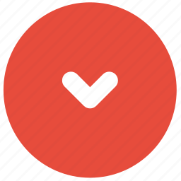 arrow, bottom, direction, down, red, small icon