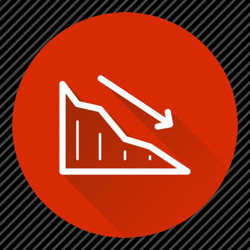 analytics, chart, down, metrics, negative trend icon