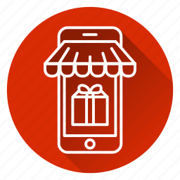 commerce, gift, mobile, online store, phone, present, shop icon
