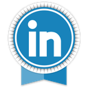 linkedin, ribbon, social icon