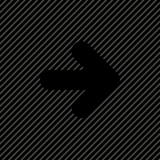 arrow, forward, next, right, rounded icon