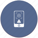 dactyl, dactylography, error, id, person, scanner, warning icon