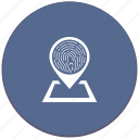 biometry, dactyl, dactylography, finger, map, pointer icon