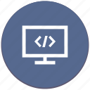 code, monitor, program, source icon