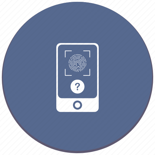 dactyl, dactylography, faq, id, question, scanner icon