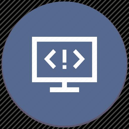 code, error, screen, source, warning icon