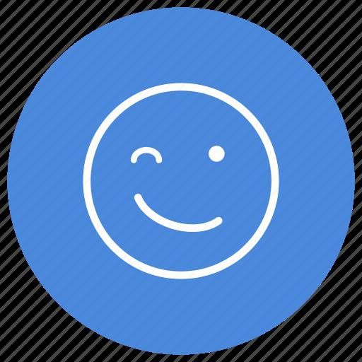 emoji, emoticon, emoticons, emotion, expression, smiley, wink icon