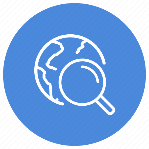 browser, earth, find, glass, internet, look, magnifying icon