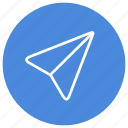 communication, conversation, message, paper, paper plane, plane, send icon