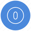 blue, circle, filled, number, round, white, zero icon