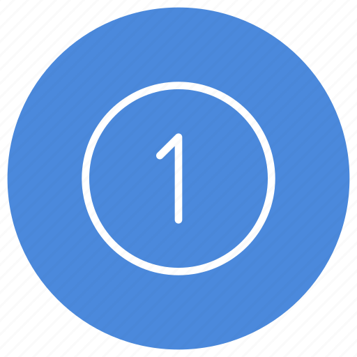 blue, circle, filled, number, one, round, white icon