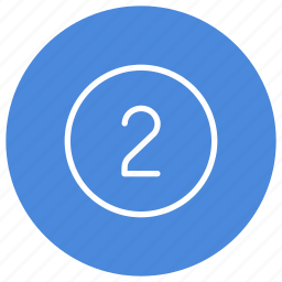 blue, circle, filled, number, round, two, white icon