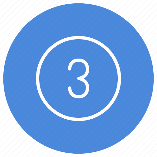 blue, circle, filled, number, round, three, white icon