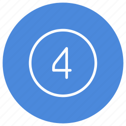 blue, circle, filled, four, number, round, white icon