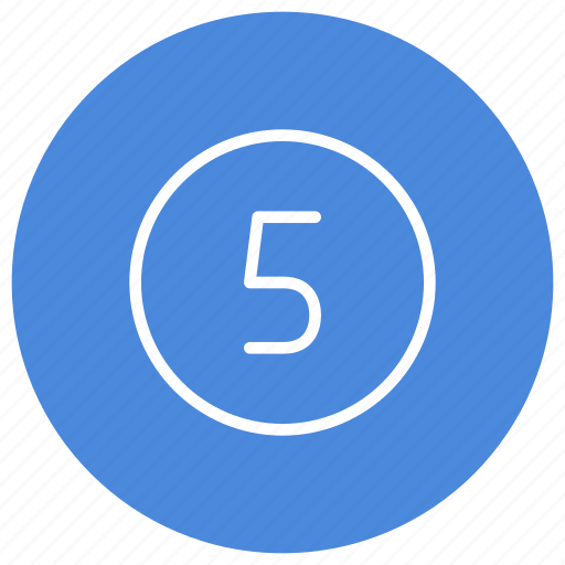 blue, circle, filled, five, number, round, white icon