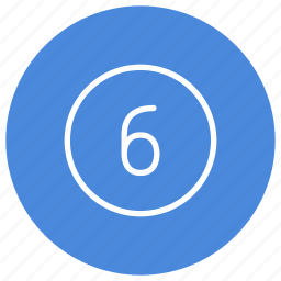 blue, circle, filled, number, round, six, white icon