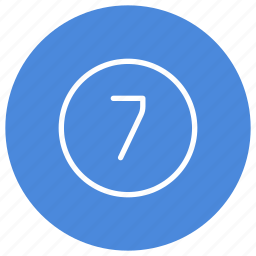 blue, circle, filled, number, round, seven, white icon