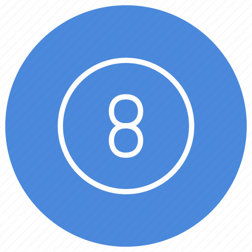 blue, circle, eight, filled, number, round, white icon
