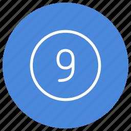 blue, circle, filled, nine, number, round, white icon