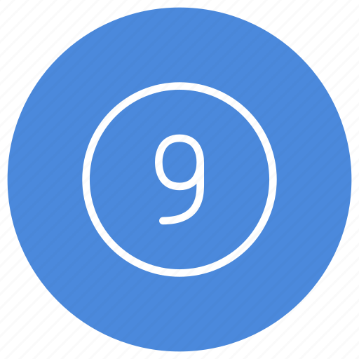 blue, circle, filled, nine, number, round, white icon