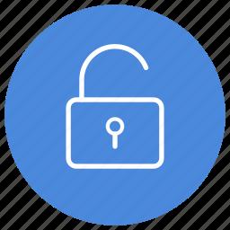 open, opened, padlock, secure, security, unlock, unlocked icon