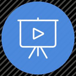 blackboard, diaporama, media, presentation, report, summary, video icon