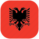 albania, country, flag, national, rounded, square icon