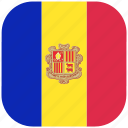 andorra, country, flag, national, rounded, square icon