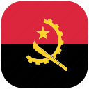 angola, country, flag, national, rounded, square