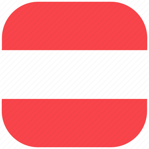 austria, country, flag, national, rounded, square icon