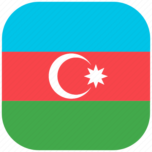 azerbaijan, country, flag, national, rounded, square icon
