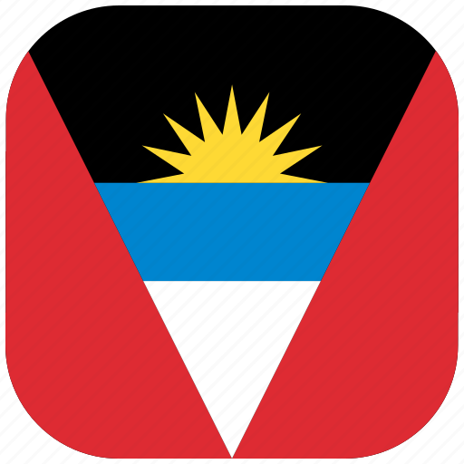 antigua, barbuda, country, flag, national, rounded, square icon