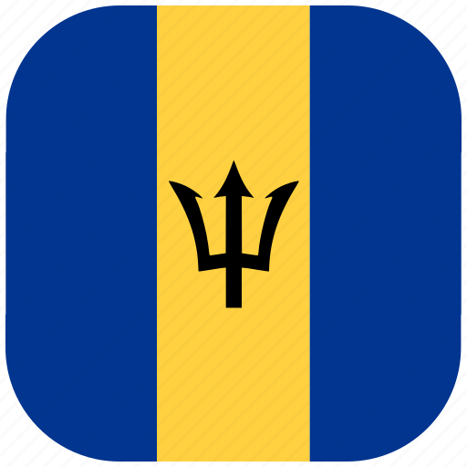 barbados, country, flag, national, rounded, square icon
