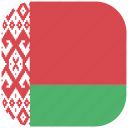 belarus, country, flag, national, rounded, square icon