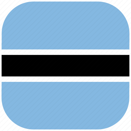 botswana, country, flag, national, rounded, square icon