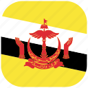 brunei, country, flag, national, rounded, square