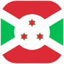 burundi, country, flag, national, rounded, square icon
