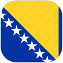 bosnia, country, flag, herzegovina, national, rounded, square icon