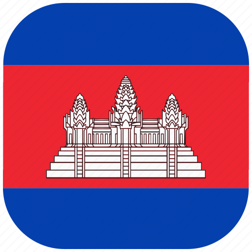 cambodia, country, flag, national, rounded, square icon
