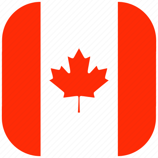 canada, country, flag, national, rounded, square icon