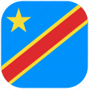 congo, country, democratic, flag, national, rounded, square icon