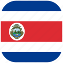 costa, country, flag, national, rica, rounded, square icon